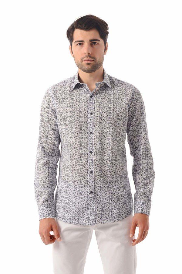 HATEM SAYKI - Beyaz Baskılı Slim Fit Gömlek