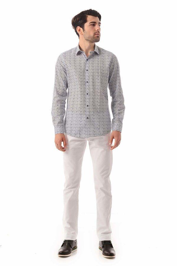 HATEM SAYKI - Beyaz Baskılı Slim Fit Gömlek (1)