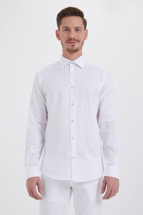 HTML - Beyaz Baskılı Slim Fit Gömlek