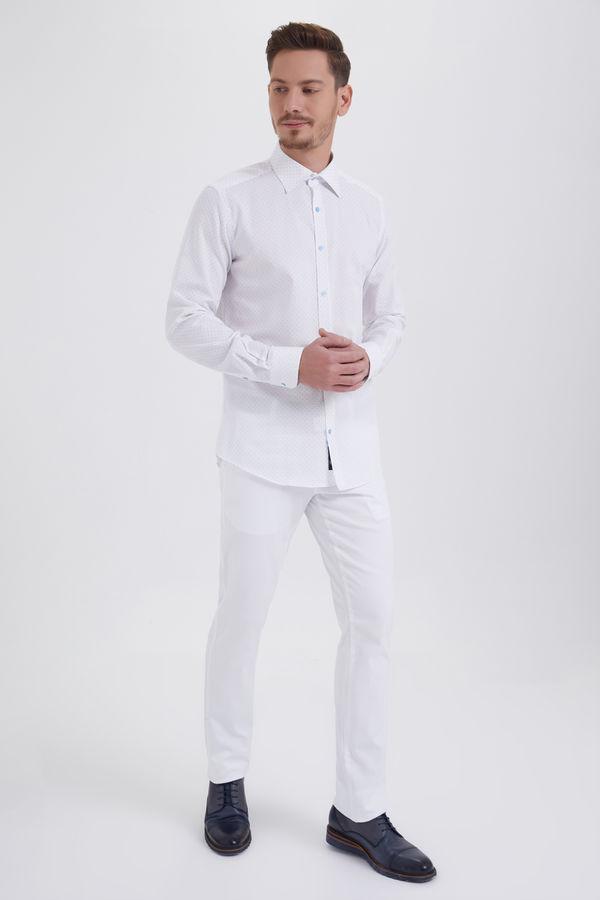 HTML - Beyaz Baskılı Slim Fit Gömlek (1)