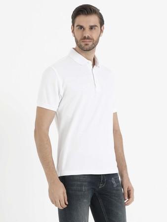 Beyaz Polo Yaka T-shirt - Thumbnail