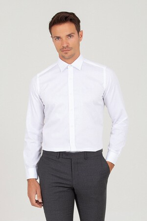 Hatem Saykı - Slim Fit Beyaz Gömlek