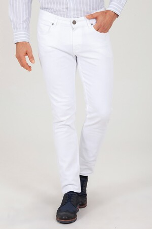 Beyaz Basic Slim Fit Pantolon - Thumbnail