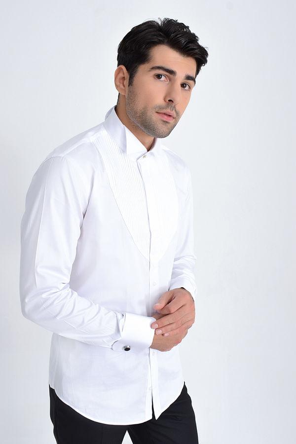 Hatem Saykı - Cerimonia Slim Fit Beyaz Gömlek