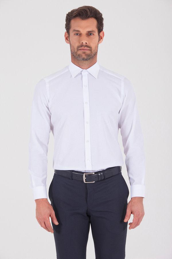 HATEMOĞLU - Beyaz 2 Desenli Slim Fit Gömlek