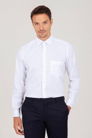 Hatemoğlu - Klasik Beyaz Armürlü Gömlek