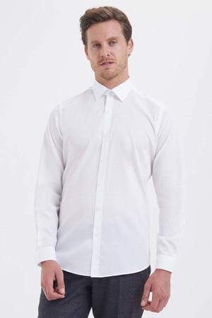 Beyaz Çizgili Slim Fit Gömlek - Thumbnail