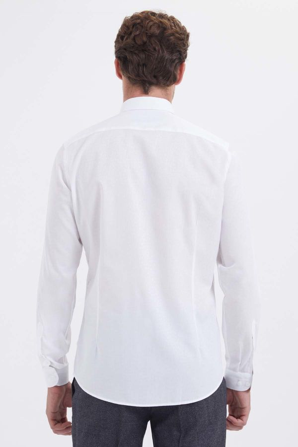 Beyaz Çizgili Slim Fit Gömlek