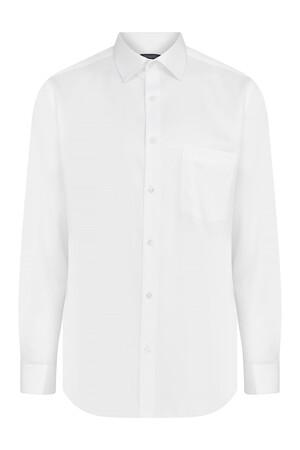 Desenli Beyaz Klasik Gömlek - Thumbnail