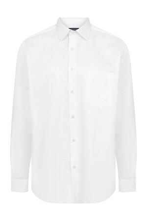 Hatemoğlu - Regular Fit Armürlü Beyaz Gömlek
