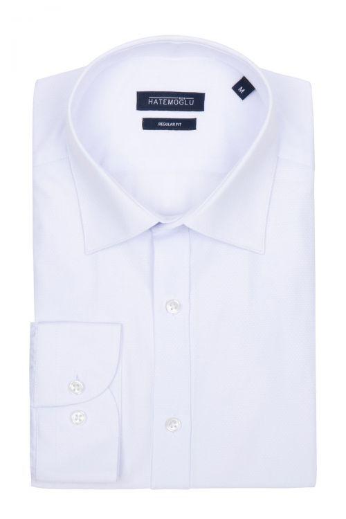 Beyaz Armürlü Klasik Gömlek