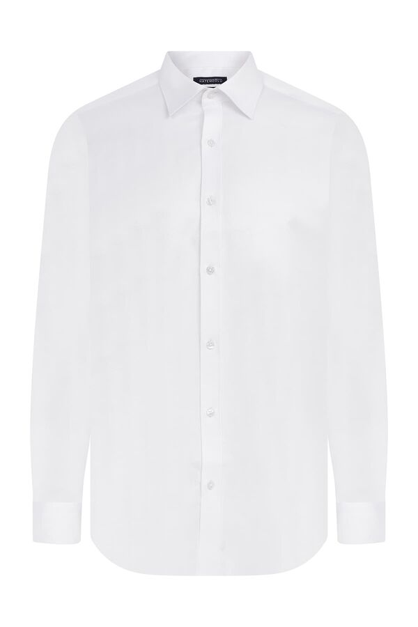 Hatemoğlu - Slim Fit Armürlü Beyaz Gömlek