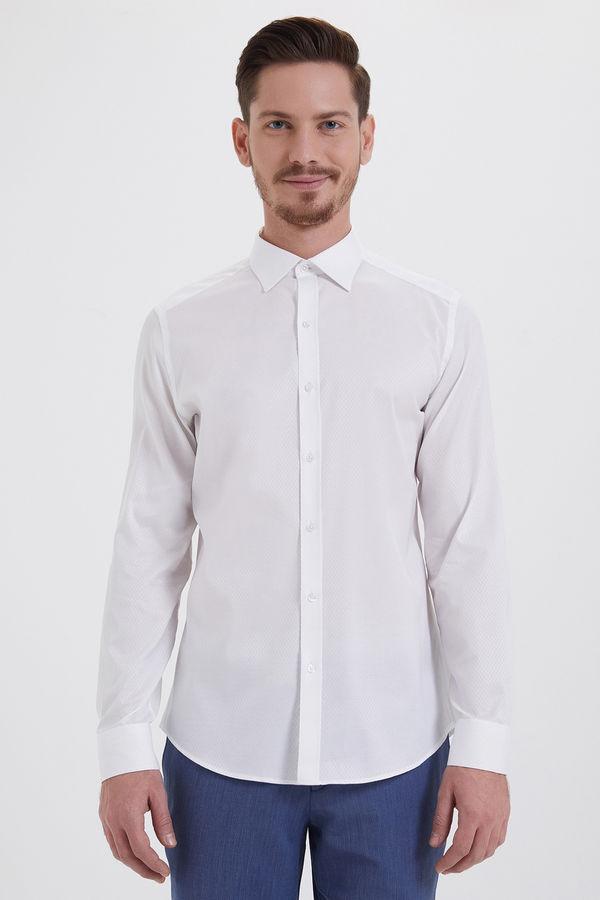 HATEM SAYKI - Beyaz Desenli Slim Fit Gömlek
