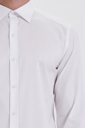 Beyaz Desenli Slim Fit Gömlek - Thumbnail
