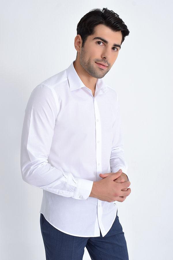 Hatemoğlu - Slim Fit Beyaz Spor Gömlek