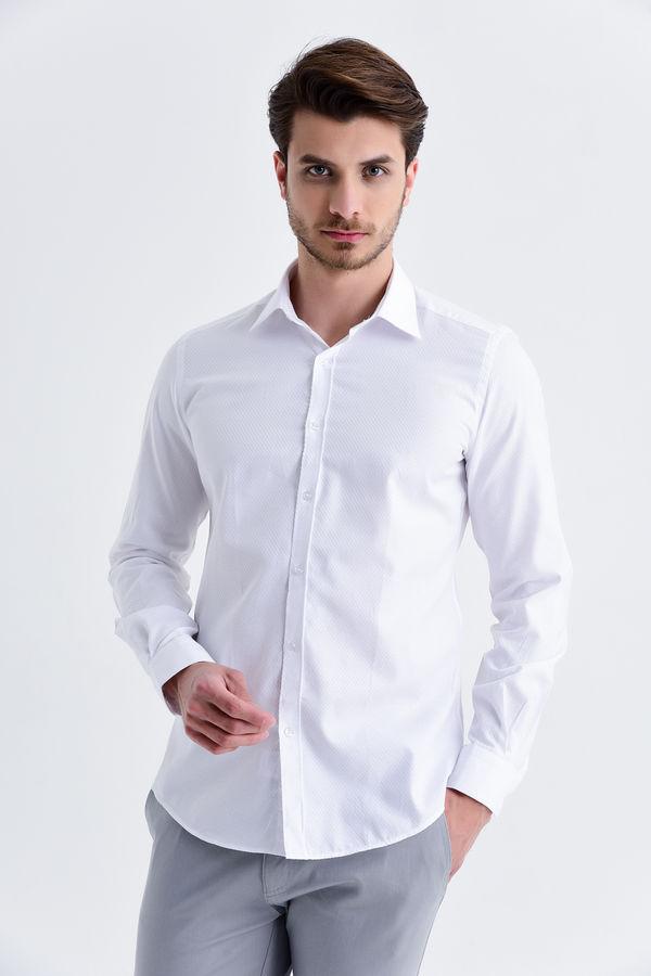 Hatemoğlu - Beyaz Desenli Slim Fit Gömlek