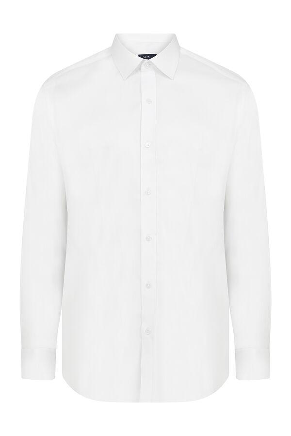 Hatem Saykı - Slim Fit Armürlü Beyaz Gömlek
