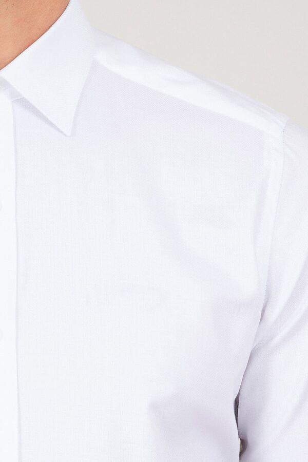 BEYAZ D.9 Desenli Slim Fit Gömlek