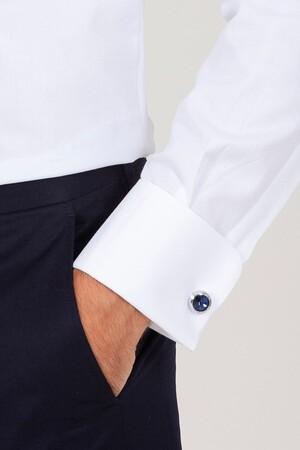BEYAZ D.9 Desenli Slim Fit Gömlek - Thumbnail