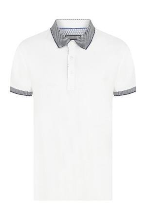 Hatemoğlu - Beyaz Desenli Polo Yaka Tişört
