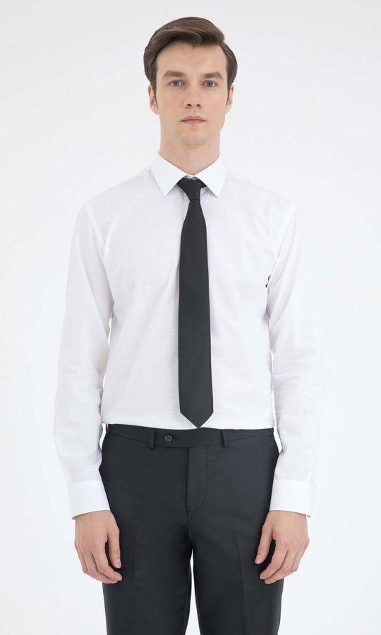 Hatemoğlu - Beyaz Kareli Slim Fit Gömlek