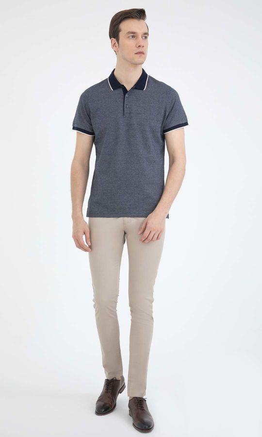 HATEM SAYKI - Beyaz-Lacivert - Desenli Regular T-shirt (1)