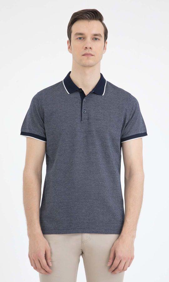 HATEM SAYKI - Beyaz-Lacivert - Desenli Regular T-shirt