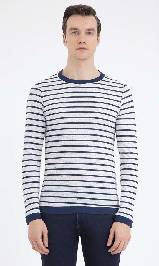 HTML - Beyaz-Lacivert Sweatshirt