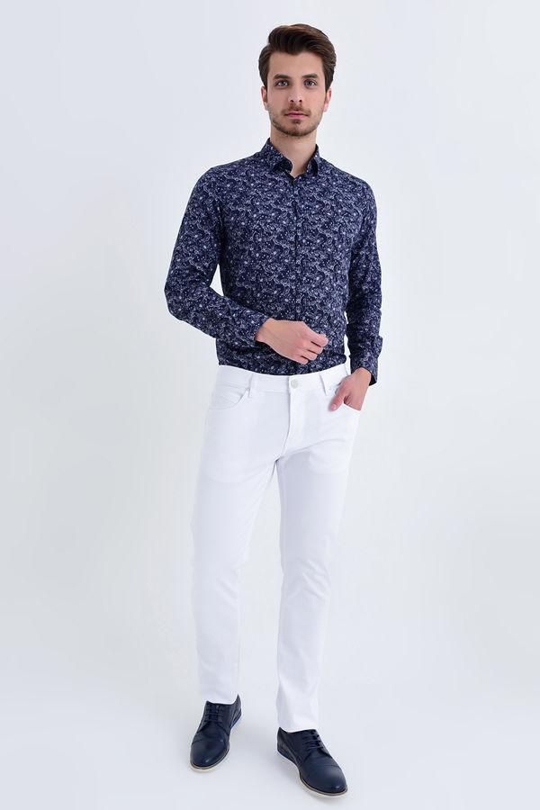 HATEM SAYKI - Beyaz Petek Slim Fit Pantolon (1)