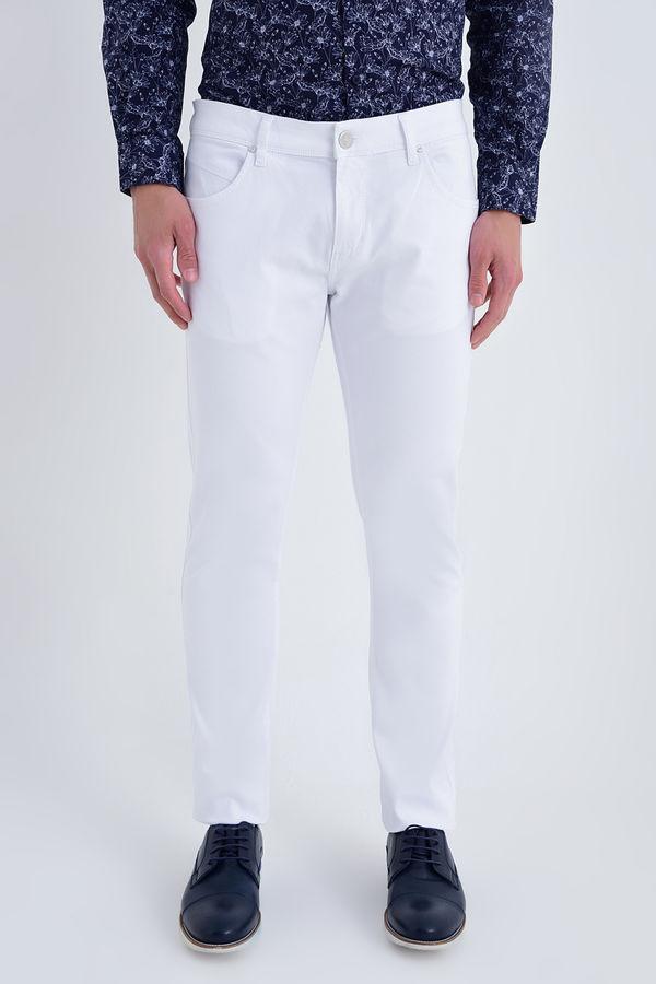 HATEM SAYKI - Beyaz Petek Slim Fit Pantolon