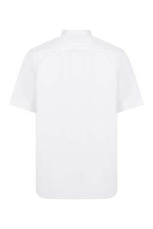 Beyaz Cepli Kısa Kol Klasik Gömlek - Thumbnail