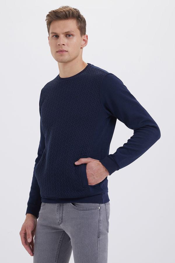 HTML - Bisiklet Yaka Lacivert Sweatshirt (1)
