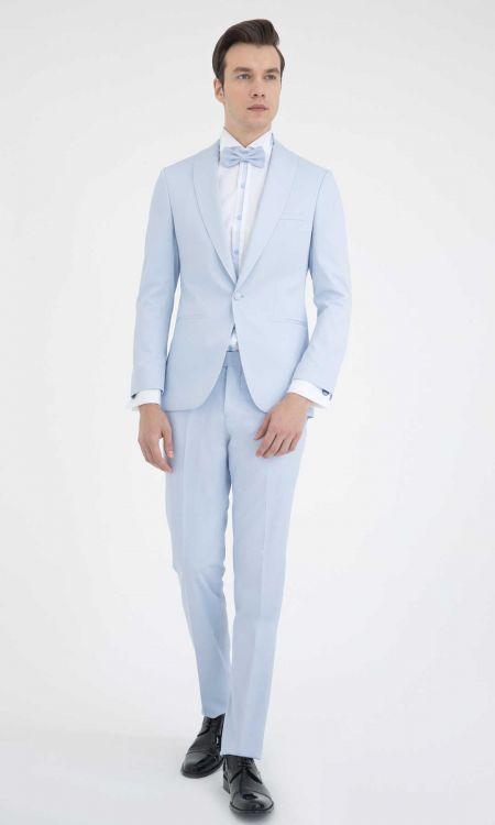 HATEM SAYKI - Mavi Cerimonia Slim Fit Takım Elbise