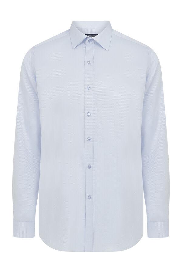 Slim Fit Açık Mavi Armürlü Gömlek
