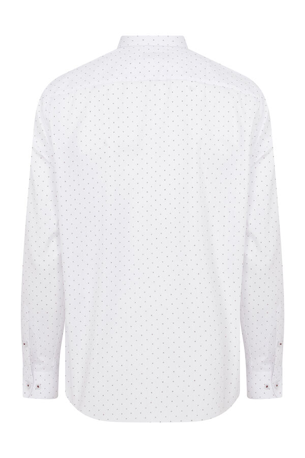 Hatemoğlu - Beyaz Bordo Desenli Klasik Gömlek (1)
