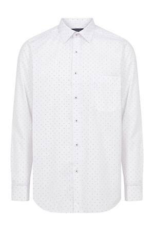 Hatemoğlu - Beyaz Bordo Desenli Klasik Gömlek