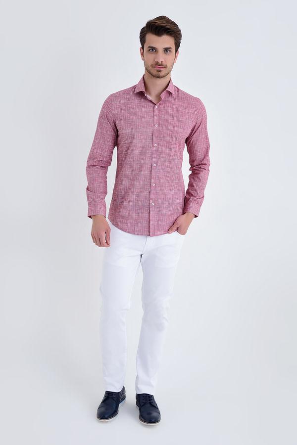 HTML - BORDO B Baskılı Slim Fit Gömlek (1)