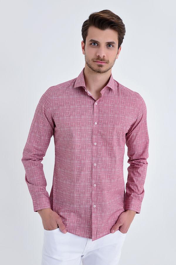 HTML - BORDO B Baskılı Slim Fit Gömlek