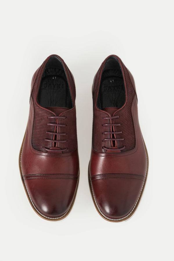 Hakiki Deri Bordo Günlük Ayakkabı