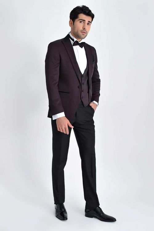 Hatem Saykı - Slim Fit Bordo Damatlık/Smokin (1)
