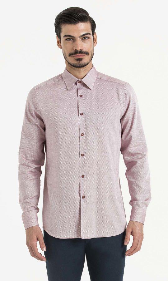 Hatemoğlu - Bordo Desenli Regular Gömlek