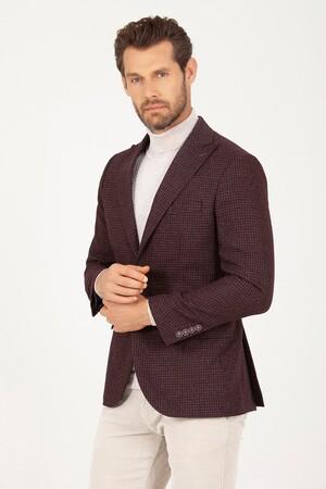 Hatem Saykı - Bordo D. Desenli Slim Fit Ceket