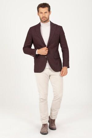 Hatem Saykı - Bordo D. Desenli Slim Fit Ceket (1)