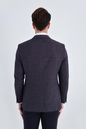 Desenli Slim Fit Bordo Ceket - Thumbnail