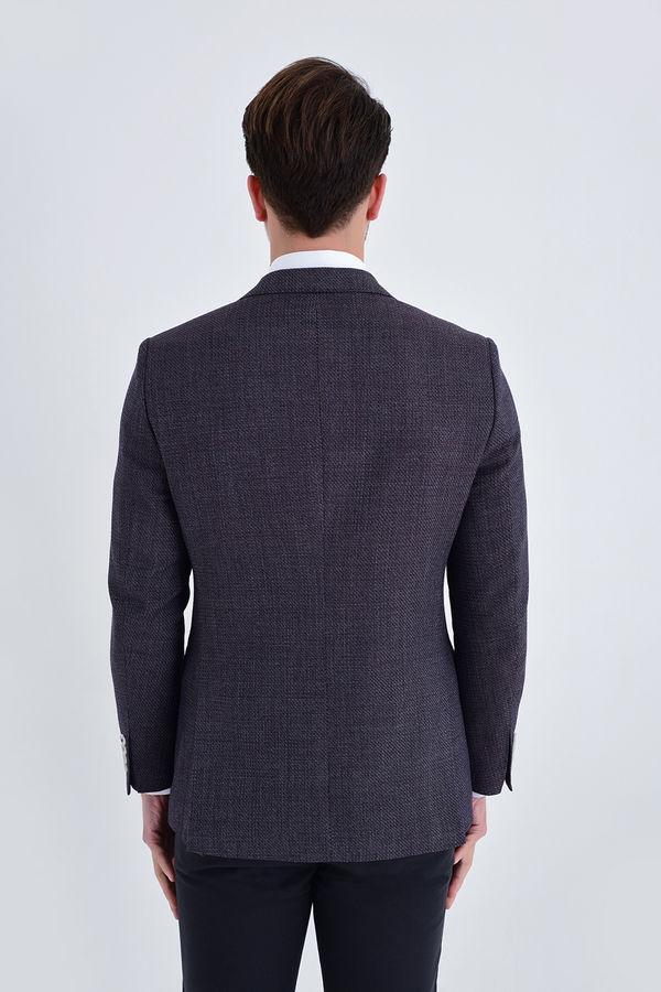 Desenli Slim Fit Bordo Ceket