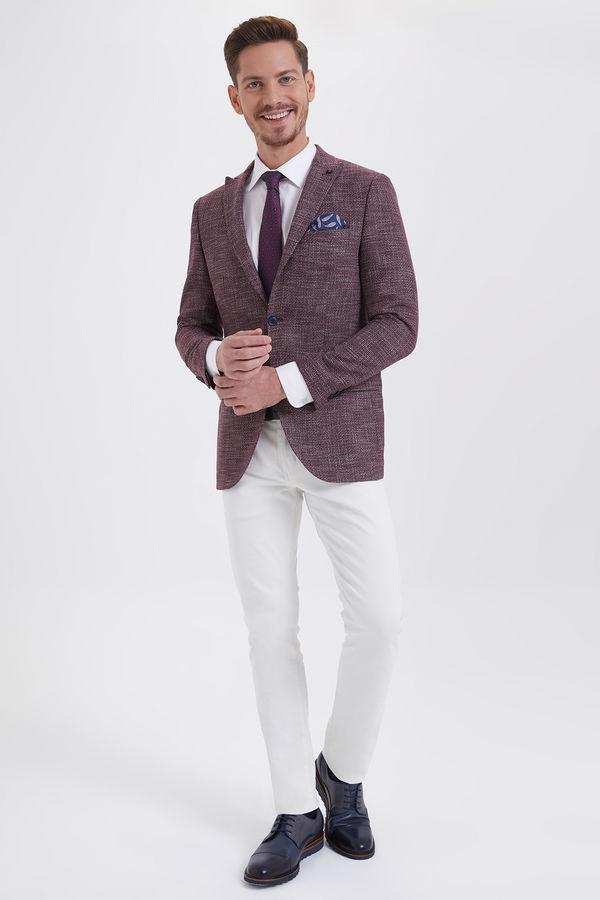 HATEMOĞLU - Bordo Desenli Slim Fit Ceket (1)