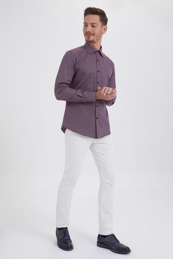 Hatemoğlu - Bordo Desenli Slim Fit Gömlek (1)