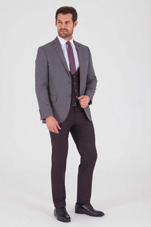 HATEMOĞLU - Bordo Desenli Slim Fit Takım Elbise (1)