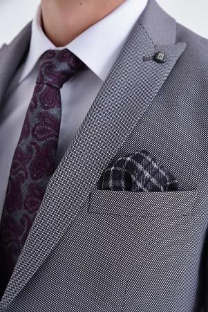 Bordo Desenli Slim Fit Takım Elbise - Thumbnail