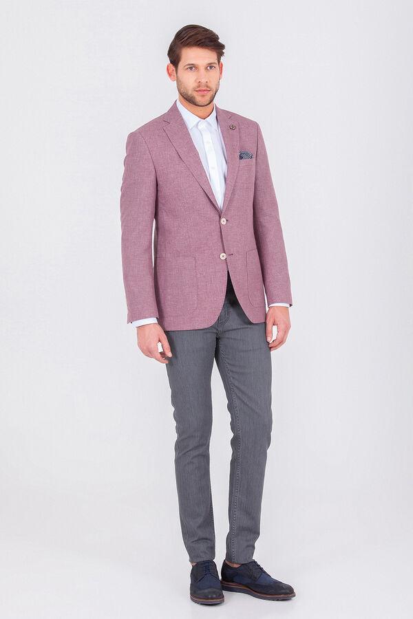 Hatem Saykı - Bordo Desenli Slim Fit Ceket (1)